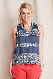 Women's Embroidered V-neck Shell