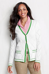 Women's Cotton Pointelle Argyle Cardigan