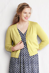 Women's Plus Supima Cotton Grosgrain-Trim Cardigan