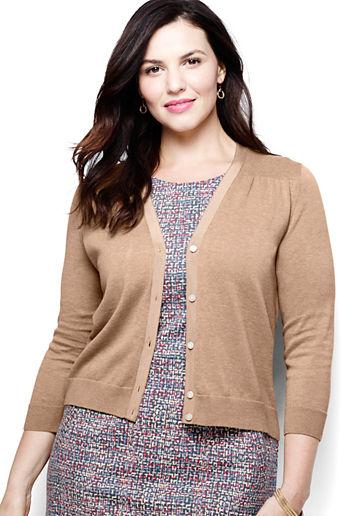 ... Women s Plus Size Supima Dress Cardigan Sweater - Vicuna Heather 6c549b8ab