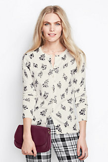 Women's Long Sleeve Floral Print Supima Cardigan