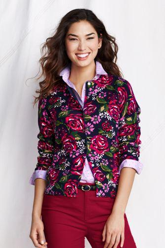Supima Feinstrick-Cardigan mit Blumenprint für Damen