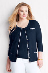 Women's 3/4-sleeve Linen Cotton Cable Scoop Cardigan