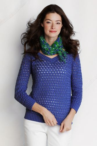 Women's Regular Basketweave Cotton V-neck Sweater