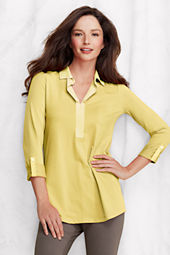 Women's 3/4-sleeve Lightweight Cotton Modal Johnny Collar Tunic