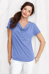 Women's Short Sleeve Polka Dot Cotton Modal Drapeneck Top