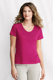 Women's Short Sleeve Lightweight Jersey Lace V-neck Tee