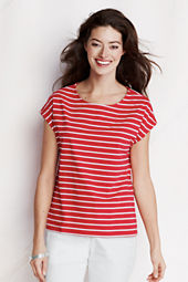 NQP Women's Short Sleeve Stripe Lightweight Jersey Dolman Tee