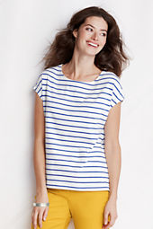 Women's Short Sleeve Stripe Lightweight Jersey Dolman Tee