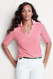 Women's Elbow Sleeve Stripe Cotton Modal Pique Polo