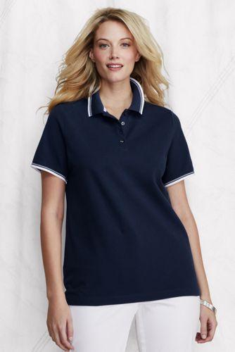 Women's Plus Short Sleeve Sporty Tipped Piqué Polo