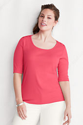 Women's Elbow Sleeve 1x1 Rib Button Scoopneck Top