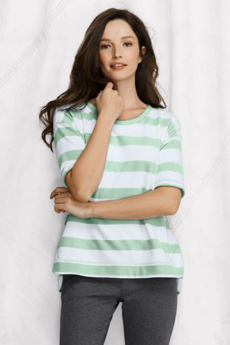 Women's Regular Elbow-sleeve Open Crewneck