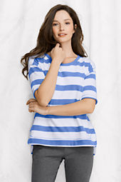 Women's Starfish Elbow Sleeve Stripe Terry Open Crewneck