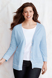Women's 3/4-sleeve Stripe Cotton Modal Pique Cardigan