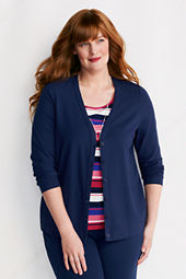 Women's Plus Size Long Sleeve Drape Jersey Cardigan