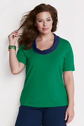 Women's Plus Size Elbow Sleeve Drape Portrait Collar Top
