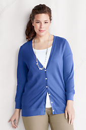Women's 3/4-sleeve Cotton Modal Pique Cardigan