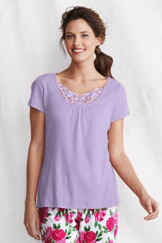 Women's Regular Lace-trim Sleep Top