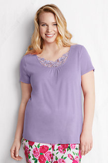 Women's Plus Lace-trim Sleep Top