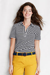 Women's Short Sleeve Stripe Supima Polo Shirt