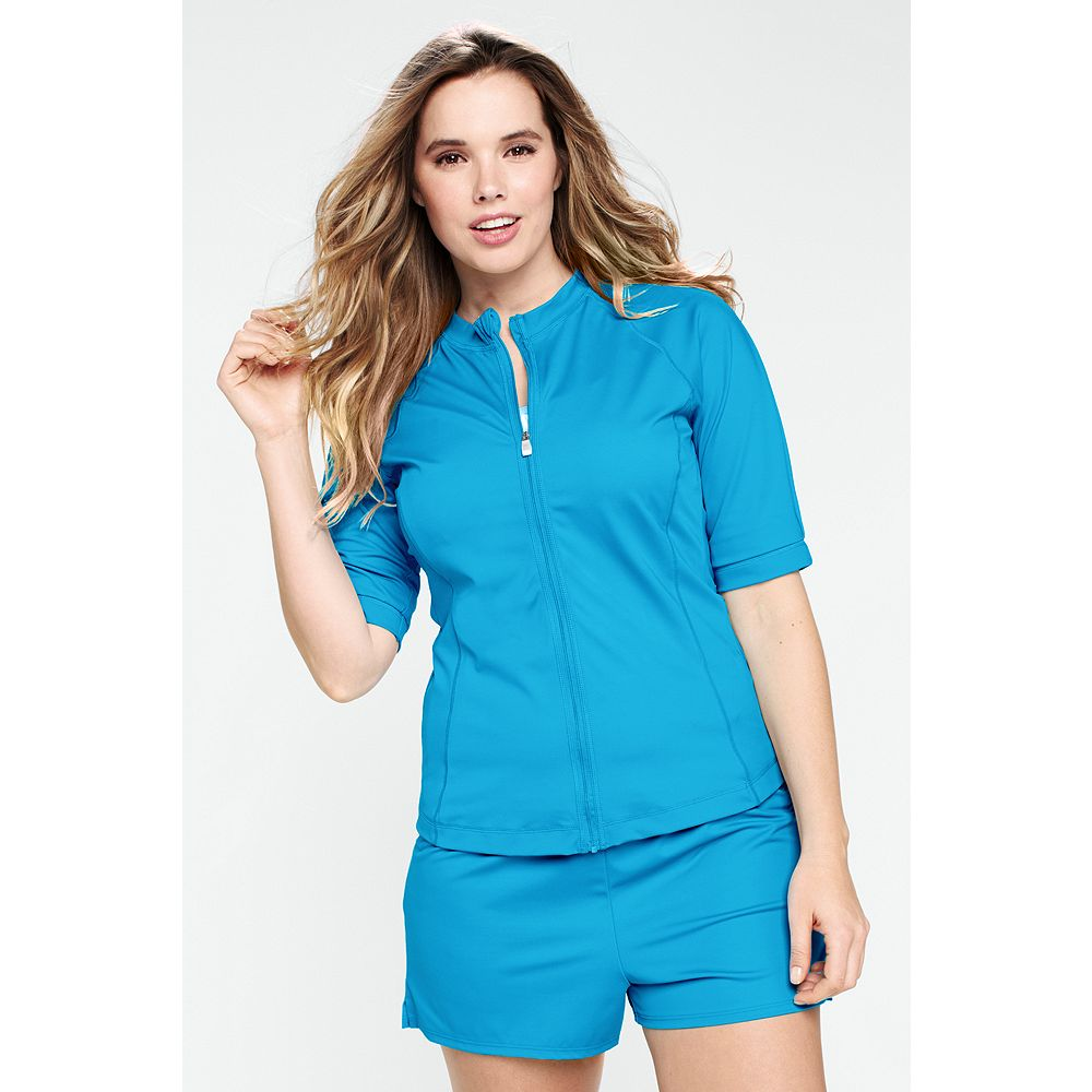 Lands' End Women's Plus Size Long AquaTerra Short Sleeve Zip-front Rash Guard at Sears.com