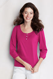 Women's 3/4-sleeve Solid Lightweight Cotton Modal Henley