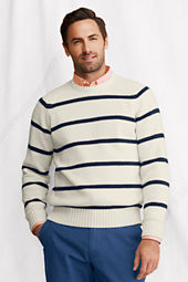 Men's Long Sleeve Stripe Cotton Raglan Crewneck Sweater