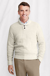 Men's Long Sleeve Linen Cotton Guernsey Shawl Sweater