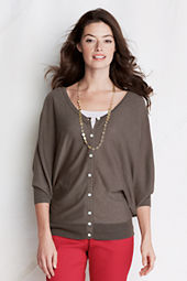 Women's 3/4-sleeve Viscose Blend 2-way Open Neck Cardigan