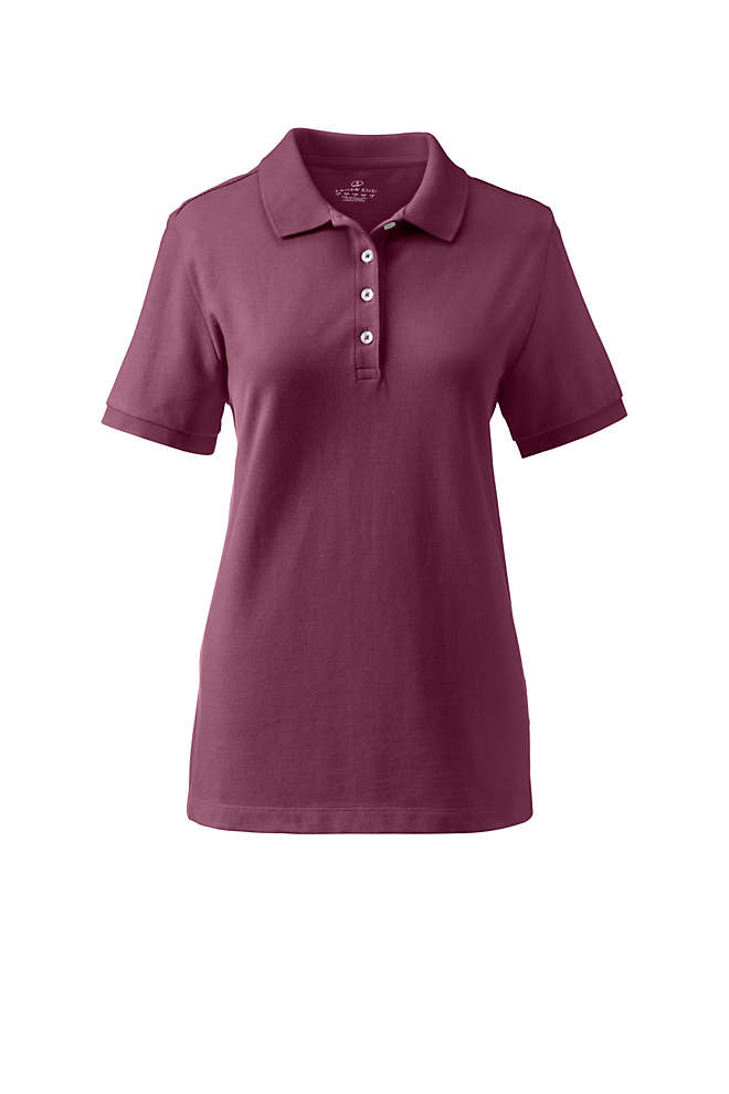 School Uniform Women's Banded Short Sleeve Fem Fit Mesh Polo, Front