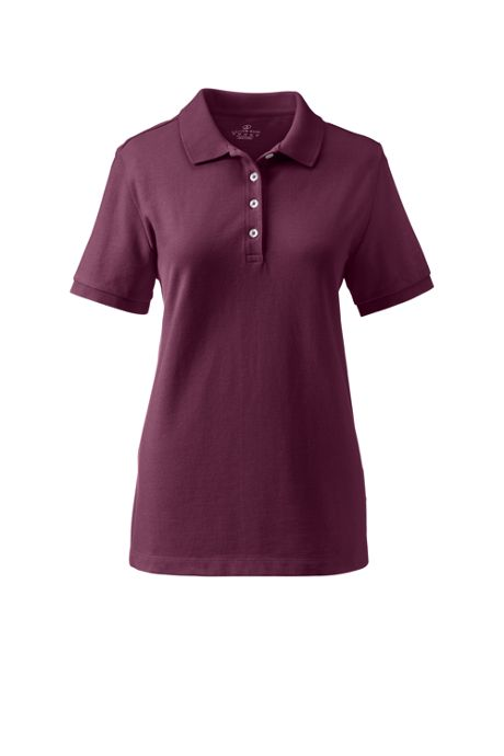 School Uniform Women's Plus Size Banded Short Sleeve Fem Fit Mesh Polo