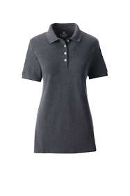 School Uniform Women's Plus Size Short Sleeve Feminine Fit Banded Mesh Polo Shirt
