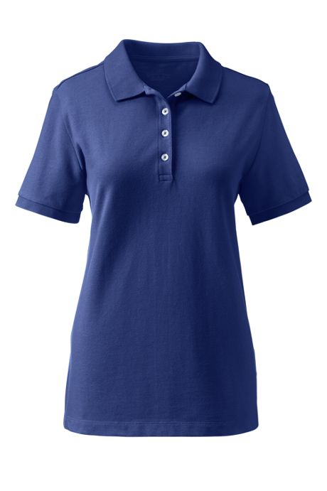 Women's Custom Logo Banded Short Sleeve Cotton Mesh Polo Shirt