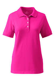 Women's Plus Size Short Sleeve Feminine Fit Banded Mesh Polo Shirt