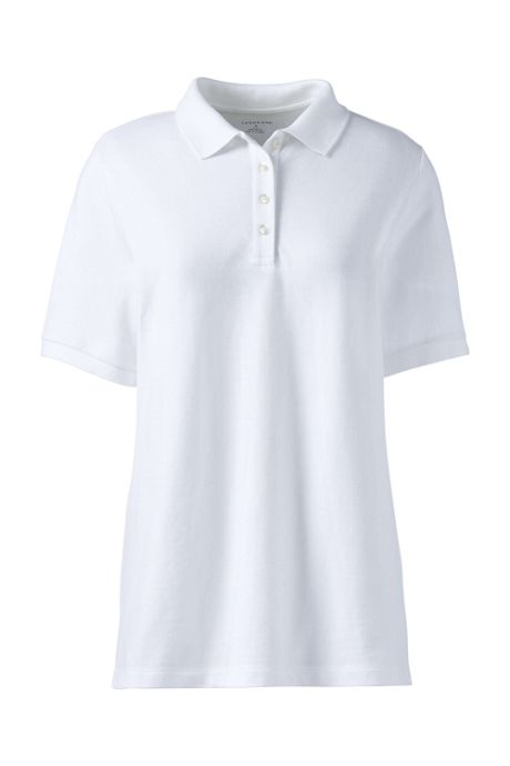 Women's Short Sleeve Relaxed Fit Banded Mesh Polo Shirt