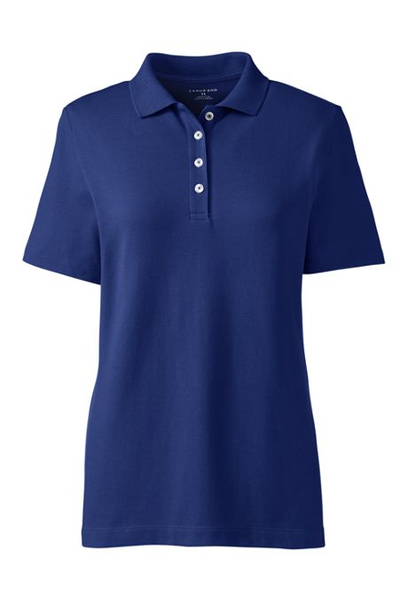 Women's Hemmed Short Sleeve Feminine Mesh Polo