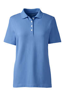 Women's Plus Size Hemmed Short Sleeve Feminine Mesh Polo, Front