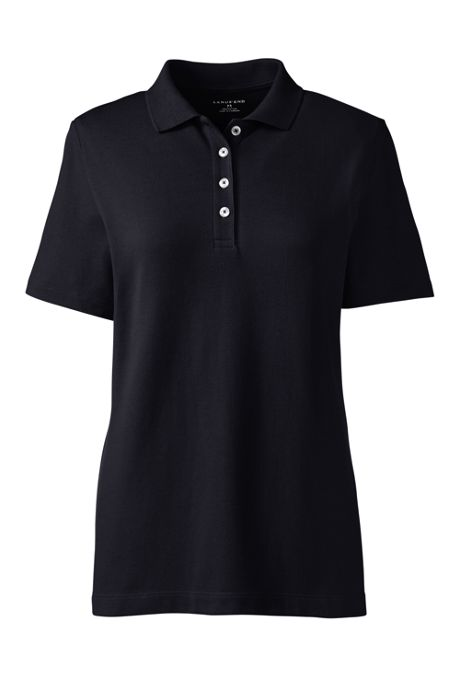 Women's Custom Embroidered Hemmed Short Sleeve Mesh Polo Shirt