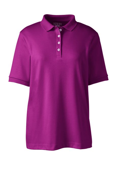 Women's Short Sleeve Relaxed Fit Banded Pima Polo Shirt