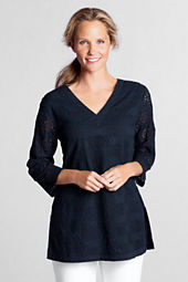 Women's 3/4-sleeve Eyelet Tunic