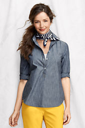 Women's Bracelet Sleeve Chambray Popover