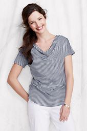 Women's Short Sleeve Stripe Cotton Modal Drapeneck Top