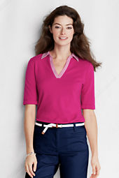 Women's Elbow Sleeve Solid Cotton Modal Pique Polo