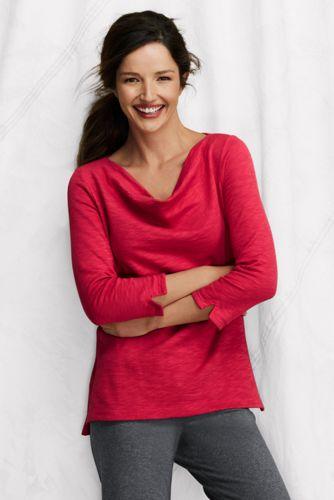French Terry-Shirt mit drapiertem Ausschnitt für Damen in Petite-Größe