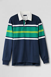 Men's Long Sleeve Stripe Zip Rugby