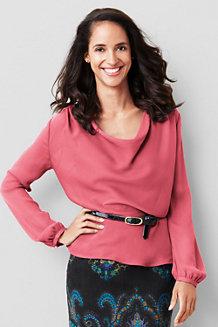 Georgette-Bluse mit plissierten Schultern für Damen