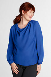 Women's Long Sleeve Georgette Drapeneck Blouse