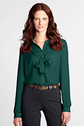 Women's Long Sleeve Georgette Bow Shirt