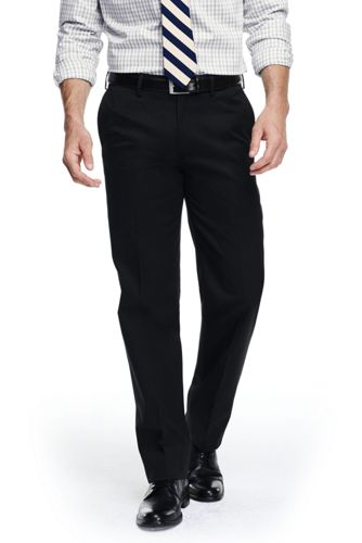 Mens Tailored Fit Plain Front No-iron Chinos - 30 - BLACK Lands End